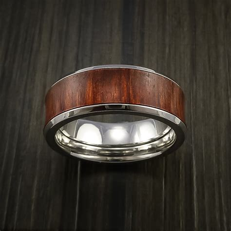 wood ring  cobalt chrome ring inlaid  cocobolo wood