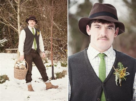 rustic cabin picture of cool winter wedding grooms attire ideas