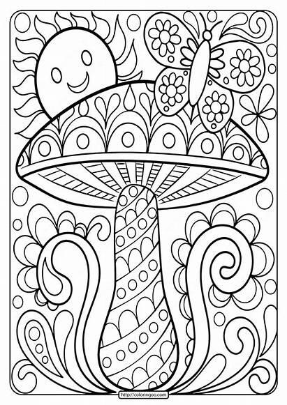 Coloring Mushroom Printable Adult Sheet Adults Books