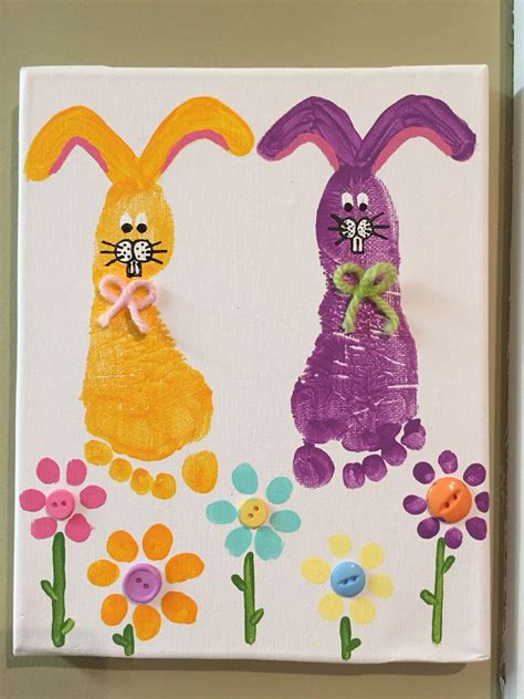 easter spring toddler canvas painting bunnies buttons