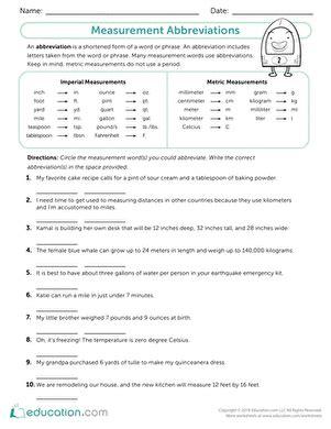 geometry measurement review worksheet education