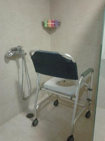 wheel in shower in teh accessible bathroom with our