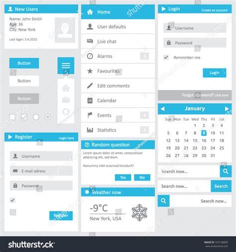 website template flat design elements login stock vector
