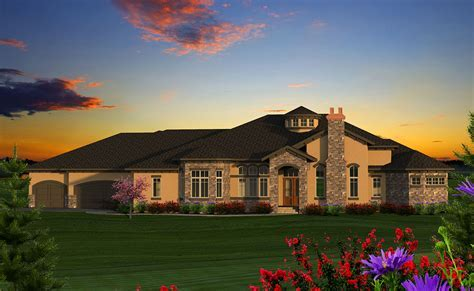 Luxury 4 Tuscan Ranch House Plan   89978AH   1st Floor