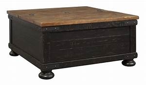 Square, Wooden, Lift, Top, Cocktail, Table, With, Trunk, Storage, Brown, And, Black