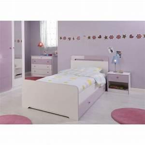 Ladys lit enfant 90x190 cm tiroir blanc et parme achat for Amenagement chambre ado avec but matelas 90x190 soldes