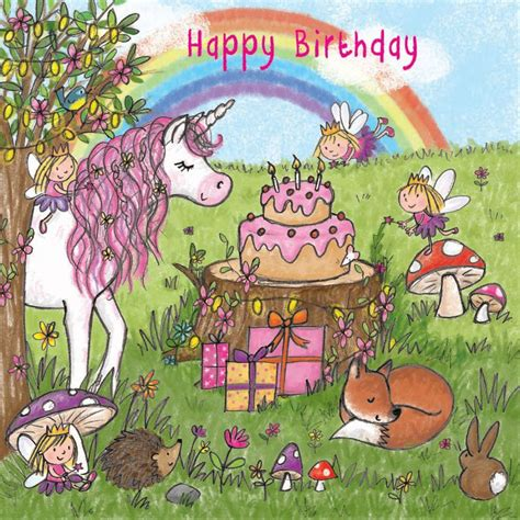happy birthday card  unicorn  fairies
