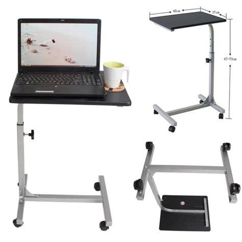 bureau sur roulettes pour ordinateur table pour ordinateur portable hauteur réglable roulettes