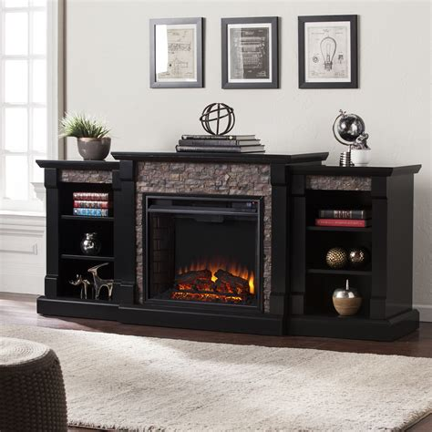 Gallatin Faux Stone Electric Fireplace w/ Bookcases