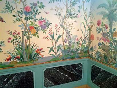 Zuber Chinoiserie Scenic Fabric Mural Adler David