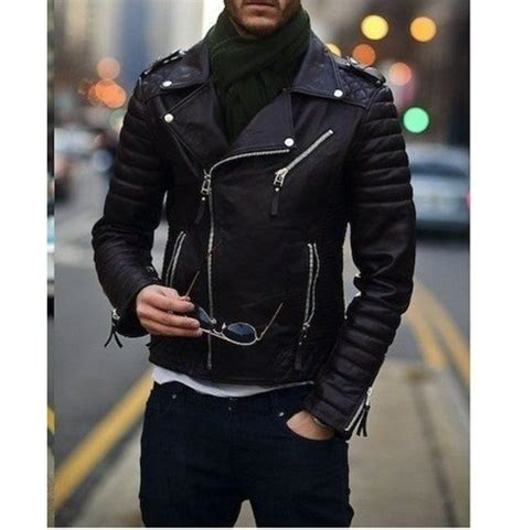 mens biker leather jacket men fashion black motorcycle