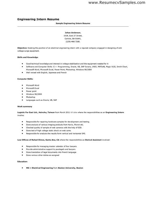 Internship Resume Builder by Engineering Internship Resume Exles Free Resume Builder