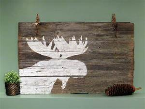 Rustic reclaimed barn wood wall art white moose