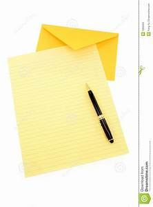 yellow letter paper and yellow envelope stock photos With yellow letter paper