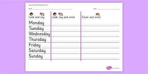 days   week writing practice worksheet