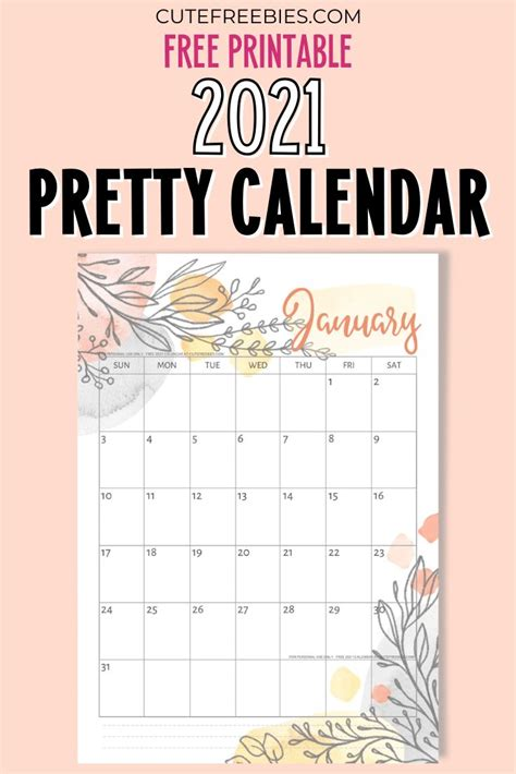pretty  calendar  printable template cute