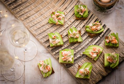 vegetarian canapes easy avocado and prawn cocktail toasts recipe olive magazine