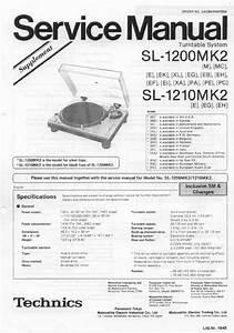 Technics Sl1200mkii Service Manual   Service Manual For