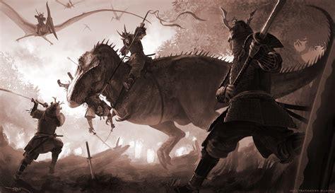 Anime Warrior Wallpaper - samurai t rex tyrannosaurus rex digital