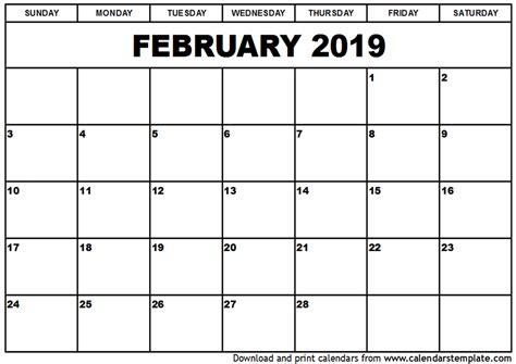 2019 Calendar Template February 2019 Calendar Template