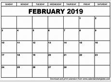 February 2019 Printable Calendar 2018 calendar printable