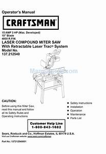 Craftsman 137 212540 Operator U0026 39 S Manual Pdf Download