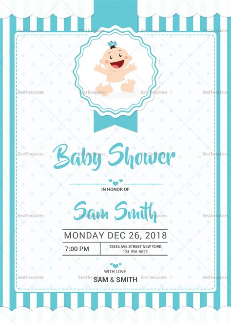 simple baby shower invitations simple blue baby shower invitation design template in word
