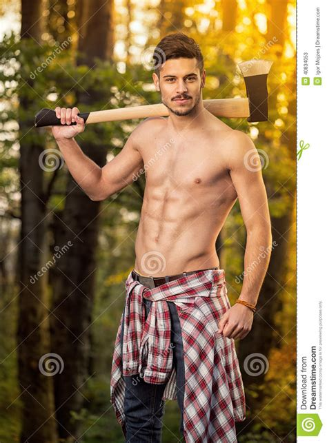 fitness lumberjack stock image image  naked muscle