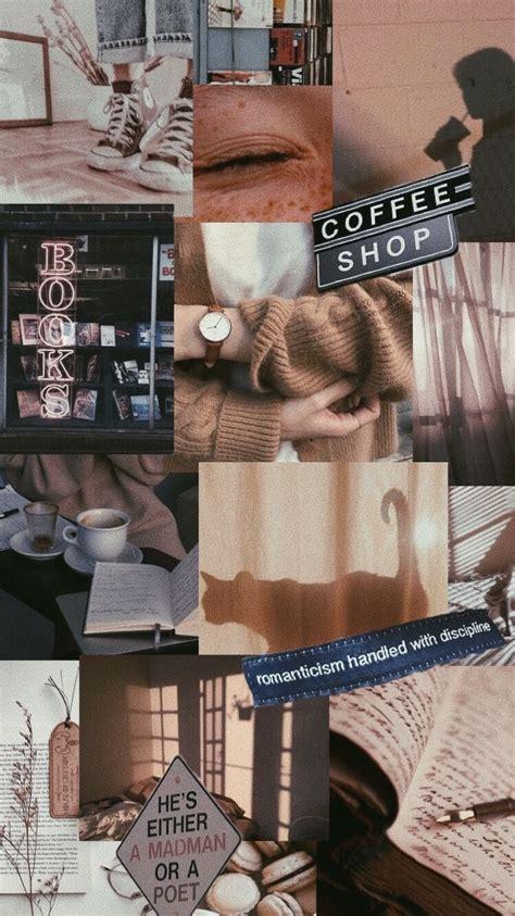 light brown coffee books aesthetic wallpaper aesthetic