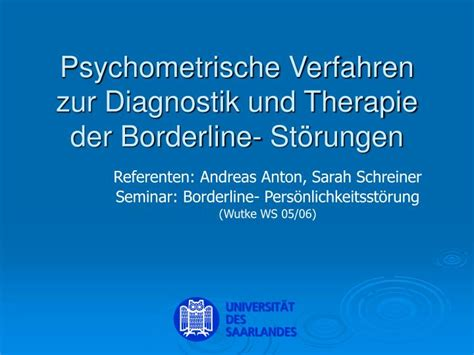 diagnostik und therapie der borderline ppt psychometrische verfahren zur diagnostik und 580 | psychometrische verfahren zur diagnostik und therapie der borderline st rungen n