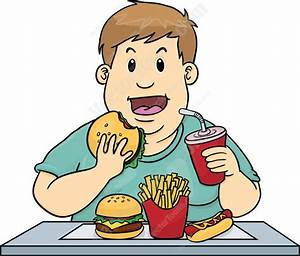 Cartoon Clipart: Overweight Man Eating Too Much Unhealthy ...