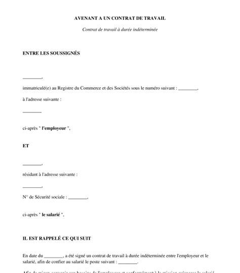 Modification Contrat De Travail Temps Plein En Temps Partiel by Avenant Au Contrat De Travail Dur 233 E Du Travail