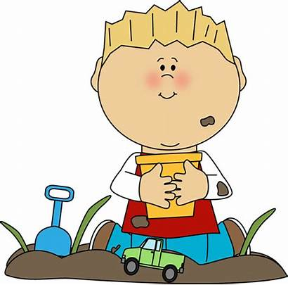 Clipart Dirt Playing Clip Boy Play Toys