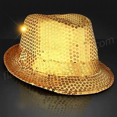 Fedora Gold Shiny Hats Sequin Hat Flashing