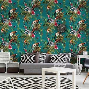 HOLDEN LEMUR WALLPAPER SILVER BLUE AND TEAL AVAILABLE