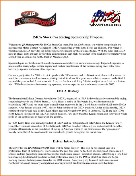 racing sponsorship proposal template  piece