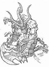 Demon Coloring Demons Colouring Horror Dentist Deviantart Swordsman Halloween Printable Pretty Template Sketch sketch template