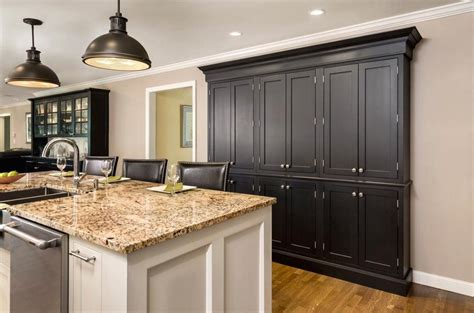 Black Kitchen Pantry by Black Wall Of Pantry Cabinets In And White Island Built Of