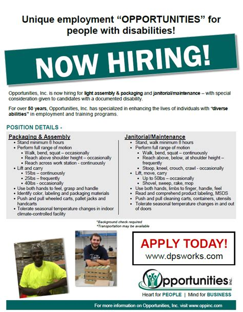 light industrial job opportunities opportunities inc wi manufacturing services training