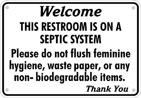 septic system tank bathroom sign restroom toilet aluminum