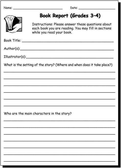 book report 3 4 practice writing worksheet for 3rd and 4th graders jumpstart products i
