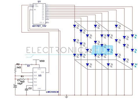 3x3x3 led cube circuit without using microcontroller