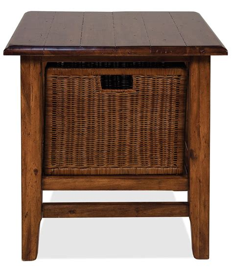 accent table with baskets rectangular end table with storage basket