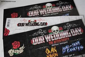 skulls and roses rock n39 roll wedding invites wedfest With rock n roll wedding invitations uk