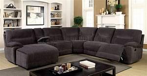 zuben reclining sectional sofa cm6853 in gray chenille fabric With grey chenille sectional sofa