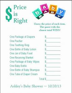free printable price is right baby shower game template - 24 personalized price is right baby shower game