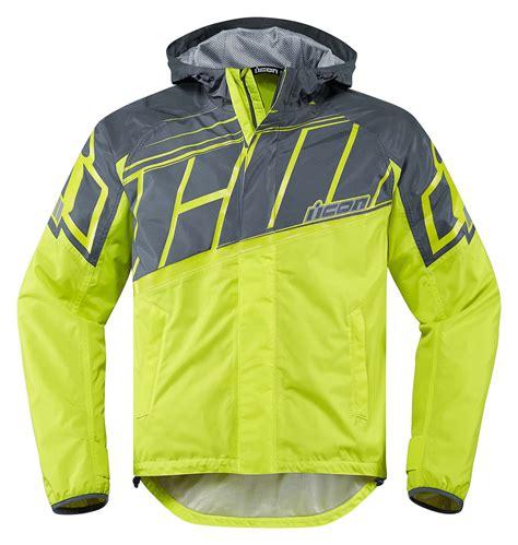motorcycle rain gear icon pdx 2 waterproof nylon motorcycle rain jacket hi viz