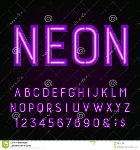 neon light letters font purple neon light alphabet font stock vector image