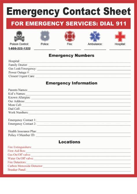 emergency contact sheet printable