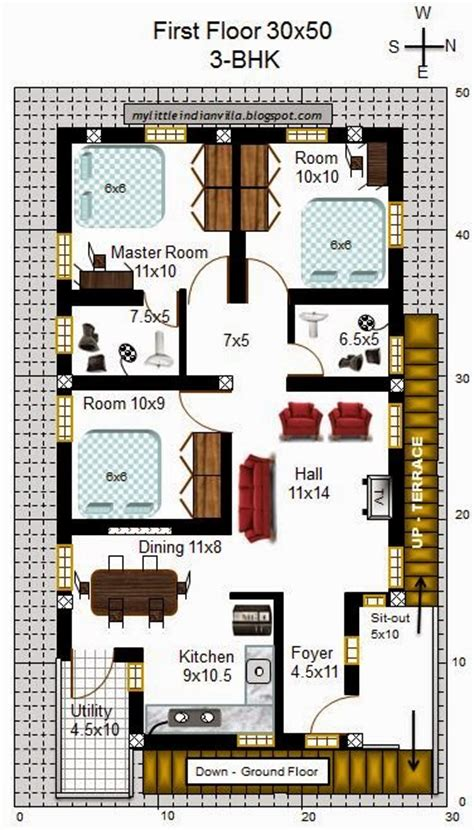 house plans with attached guest house my indian villa 60 r53 2bhk 3bhk in 30x50 east
